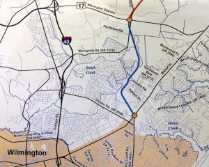 the blue line between market street and the u s 17 wilmington byp denotes a proposed six