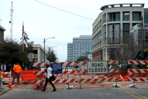 Road closure in downtown Wilmington. File photo.