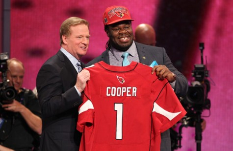 Jonathan Cooper, right, pictured with NFL Commissioner Roger Goddell on Draft night.