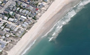 Google aerial of the Wrightsville Beach strand and fronting properties.