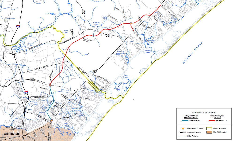 Revised design for hampstead bypass to be presented aug 15 port blue and red lines show the proposed path of the hampstead bypass map courtesy ncdot sciox Gallery