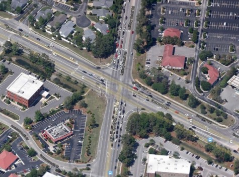 Development at the intersection of Eastwood and Military Cutoff roads has left little room for a potential interchange. Planners are eyeing an interchange design that aims to work within existing right-of-way.