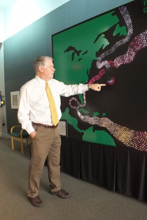 CREST director Daniel Baden said educational outreach, like this interactive display, is a component of the research facility.