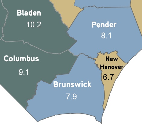Rates for November 2013. Image cropped from N.C. Department of Commerce graphic.