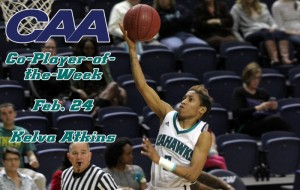 Junior guard Kelva Atkins was named the Colonial Athletic Association's Co-Player of the Week on Monday.