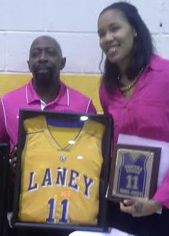 Tamera Youn, right, pictured with Qwedia Wallace, left,  and Laney Athletic Director Fred Lynch.