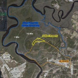 The mine site, outlined in yellow, is located one mile from the nearest developed areas, including the GE Hitachi Nuclear Energy facility. Image courtesy New Hanover County.