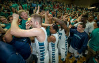 Dylan Sherwood, Craig Ponder and Addison Spruill thank the students for their support following Saturday's win.