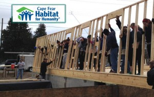Student-athletes from four different teams have been donating their time this year to build a Habitat for Humanity home. Photo Courtesy- UNCW athletics