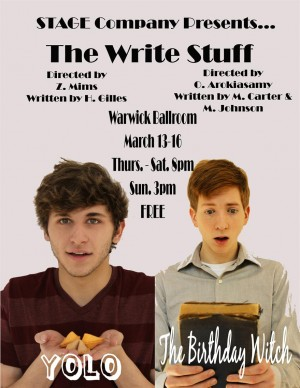'The Write Stuff,' UNCW's first double written and directed by students, continues this weekend at Browncoat Pub and Theatre. Photo courtesy UNCW's STAGE Company.