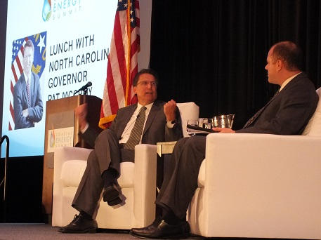 Gov. Pat McCrory discusses North Carolina's energy resources with interviewer Rob Kaiser during Thursday's Coastal Energy Summit at the Wilmington Convention Center. Photo by Jonathan Spiers.