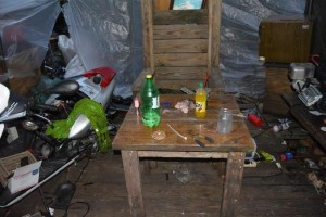 Vice-narcotics detectives found a meth lab in a shed behind the mobile home. Photo courtesy of NHCSO.