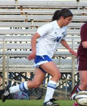 Freshman Haley Shand, left, leads Laney in goals this season. Photos by Joe Catenacci