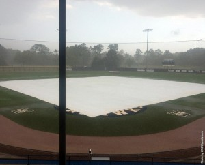 Late afternoon storms forced the cancellation of Wednesday's ballgame. Photo courtesy- UNCW sports
