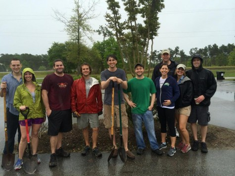 Volunteers gathered at the Cross City Trail to plant 50 trees. Photo by Brandi Grifin.