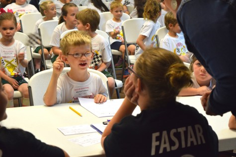 Columbus Charter School kindergarten student Michael Fishburn has the answer during a recent competition aimed at testing students' accuracy and speed in math and reading. Photo courtesy Roger Bacon Academy, Inc.