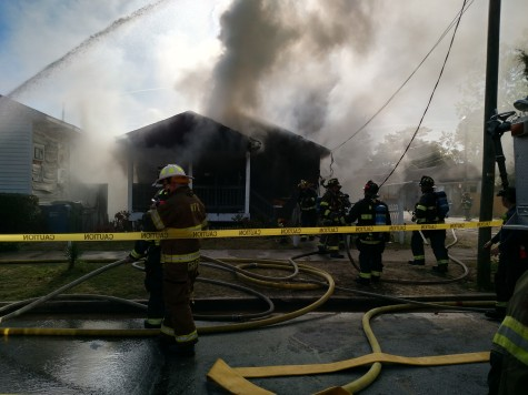 Wilmington fire crews battle a house fire reported Tuesday morning on South Eighth Street. Photo courtesy Wilmington Fire Department.