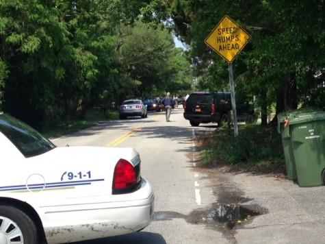 Peachtree Avenue in midtown Wilmington is closed as authorities search for a murder suspect. Photo by Christina Haley.