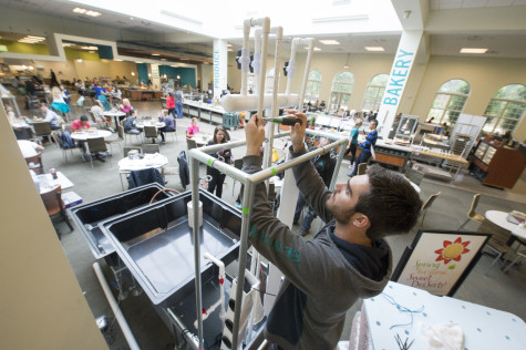 A new aquaponics system at UNCW's Wagoner dining hall will give students a hands-on learning opportunity while also raising awareness of sustainable food practices. Photo courtesy Jeff Janowski/UNCW.