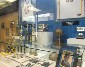 The foyer at Michael Jordan Gymnasium pays homage to its former greats.