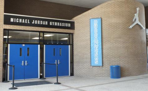 The new entrance to Michael Jordan Gymnasium at Laney High School. Photos by Joe Catenacci