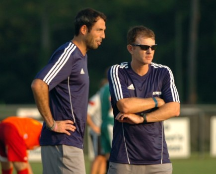 UNCW Coach Aidan Heaney, right, has lined up some tough competition for 2015. Photo courtesy- UNCW sports