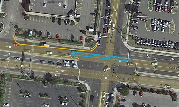 A map shows lane closures on South College Road. Map courtesy CFPUA.