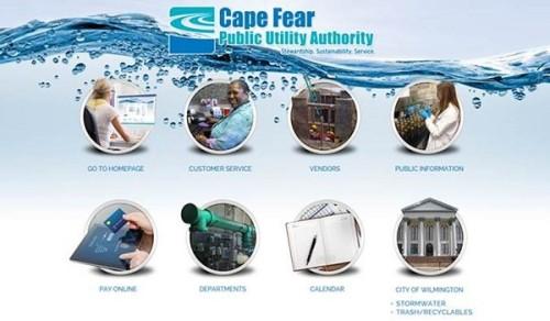 Cape Fear Utility Authority's new website. Photo courtesy CFPUA.