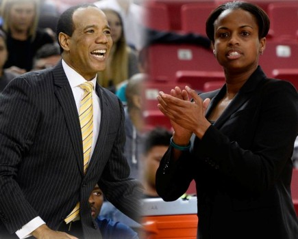 Kevin Keatts, left and Adell Harris both received contract extensions this week. Photo courtesy- UNCW Athletics