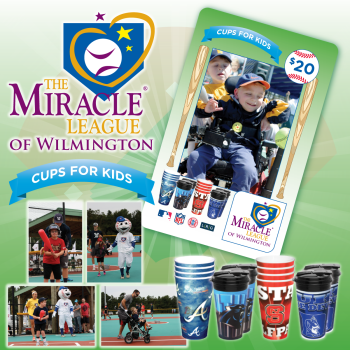 The Cups for Kids campaign features SpiritCups decorated in NFL and MLB logos.