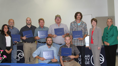Seven students recently graduated from CFCC's new welding program in Burgaw. Photos courtesy CFCC.