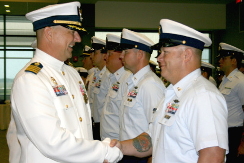 Former commander of the Diligence, Jeffrey Randall, shakes the hand of a seaman. Photos Christina Haley.