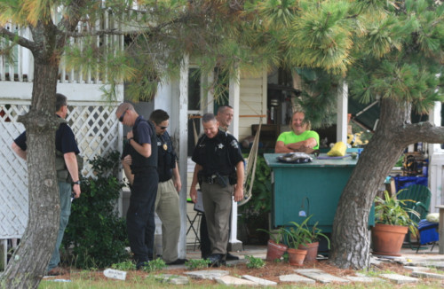 Deputies check on a sex offender at an address in Holden Beach. Photos by Christina Haley.
