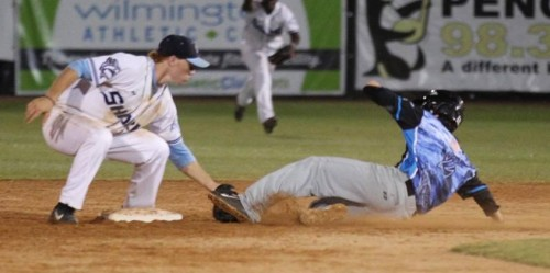 Sam Foy tags out a runner at second base. Photo courtesy- John Crouc