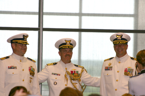 Pictured, from left: Cmdr. Matt Carter, Capt. Douglas Fears and Cmdr. Randall. Photo by Christina Haley.