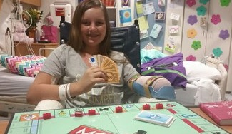 Kiersten Yow, 12, of Asheboro, recovering from injuries sustained in a June 14 shark attack off Oak Island at North Carolina Children's Hospital. Photo courtesy UNC Hospitals.
