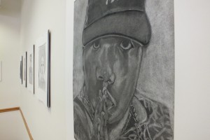 Rapper Biggie Smalls is among the subjects Cosley chose, under the theme of black history, for her charcoal installation.