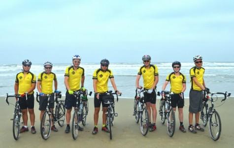 Biker's names for Pacific Ocean photo, Florence, Oregon (left to right): David Margolies, Brian Richardson, Alex Broz, Andrew de Figueiredo, Max Morgan, Will Owen, Sam Billings.