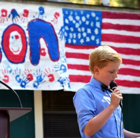 Charter Day School eighth grader Luke Boldt delivers his presidential speech during a recent election day for the schools student government association.  Photos courtesy Sawyer Batten, Roger Bacon Academy.