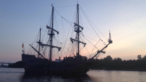 El Galeon beats the sunset - barely - as the tall ship arrives at the newly opened Port City Marina for a two-week stay. Photo by Hannah Leyva, Port City Daily
