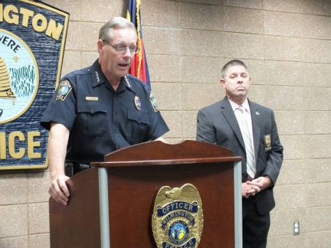 Wilmington Police Chief Ralph Evangelous, left, speaks to media about a recent arrest along with Capt. Jim Varrone. Photo by Christina Haley, Port City Daily
