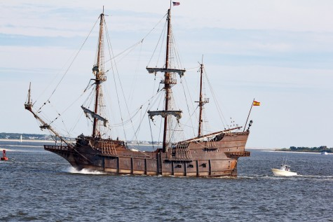 Residents and tourists gathered at the Southport waterfront Friday to watch the tall ship El Galeon en route to Wilmington. Photo courtesy Harley Martin.