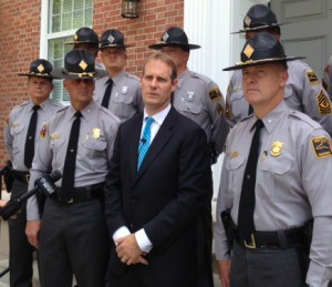 District Attorney Ben David and members of the N.C. State Highway Patrol speak about the chase involving the deaths of 2-year-old Dobbs Eddings and his infant brother, Reed Eddings. Photo by Christina Haley.