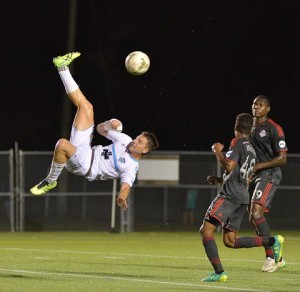 Trole Cole nearly connected on a bicycle kick for Wilmington. Photo courtesy- Wilmington Hammerheads FC