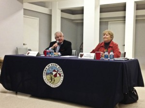 Incumbent Dean Lambeth, left, and current town commissioner Emilie Swearingen answer questions during a mayoral candidates forum in Kure Beach.