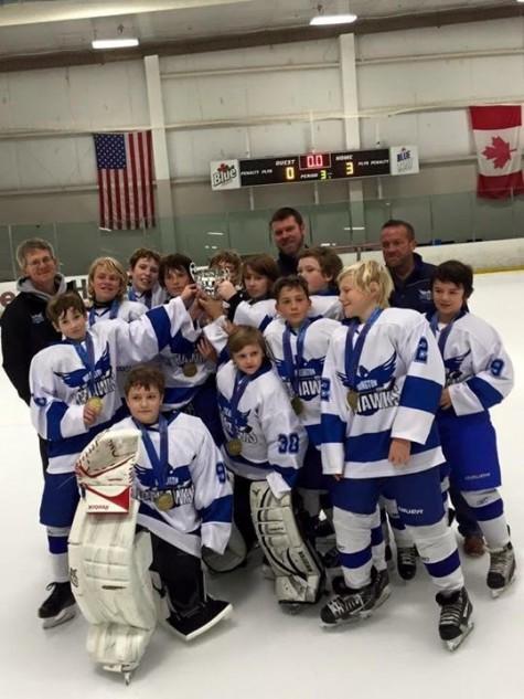 Wilmington  Icehawks Pee Wee hockey team. Photo courtesy- Josh London.