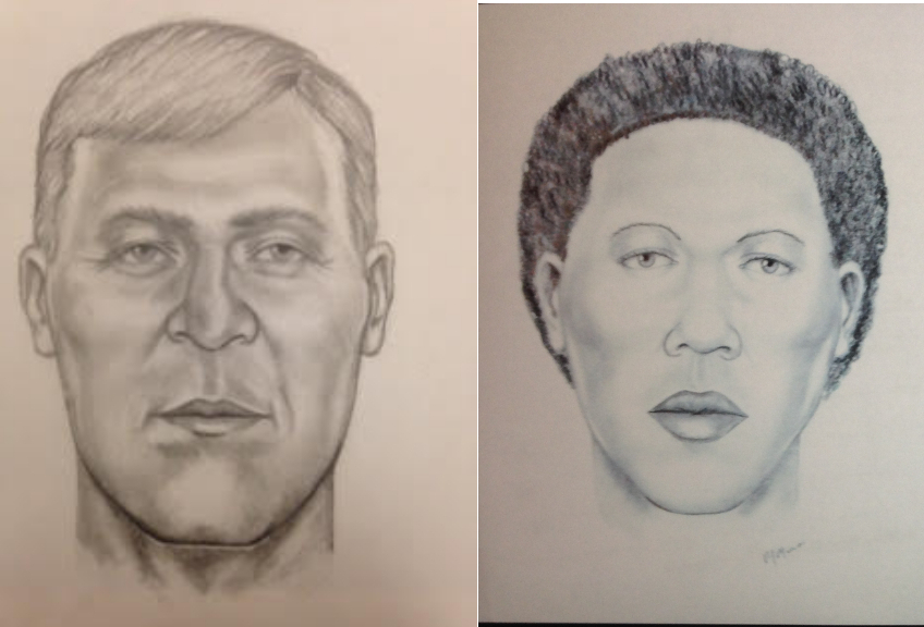 The John Doe and Jane Doe sketched in this image are the subject of two separate unsolved death investigations in Brunswick County. Detectives are searching for their identity and clues about their death. Sketched photos courtesy of BCSO.