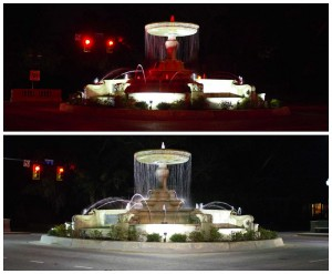 Top: Kenan Fountain with the old lighting scheme. Bottom: The fountain with new and improved lighting. Photos by Hannah Leyva.