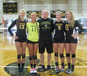Topsail seniors, with coach Hill Pearsall, center. From left-to-right, Madi Ford, Marlee Marrotta, Haley Woods, Payton Shoenleber. Photo courtesy- Topsail volleyball.