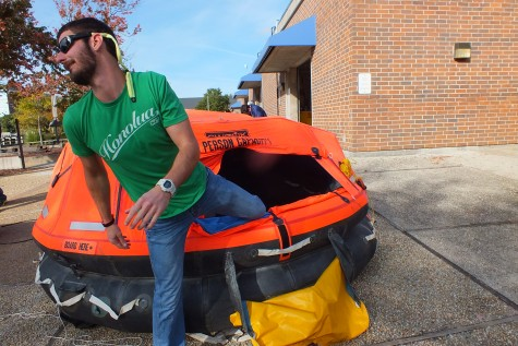 Students got the chance to climb in the 25-person raft, which in a true emergency would contain food and other supplies.